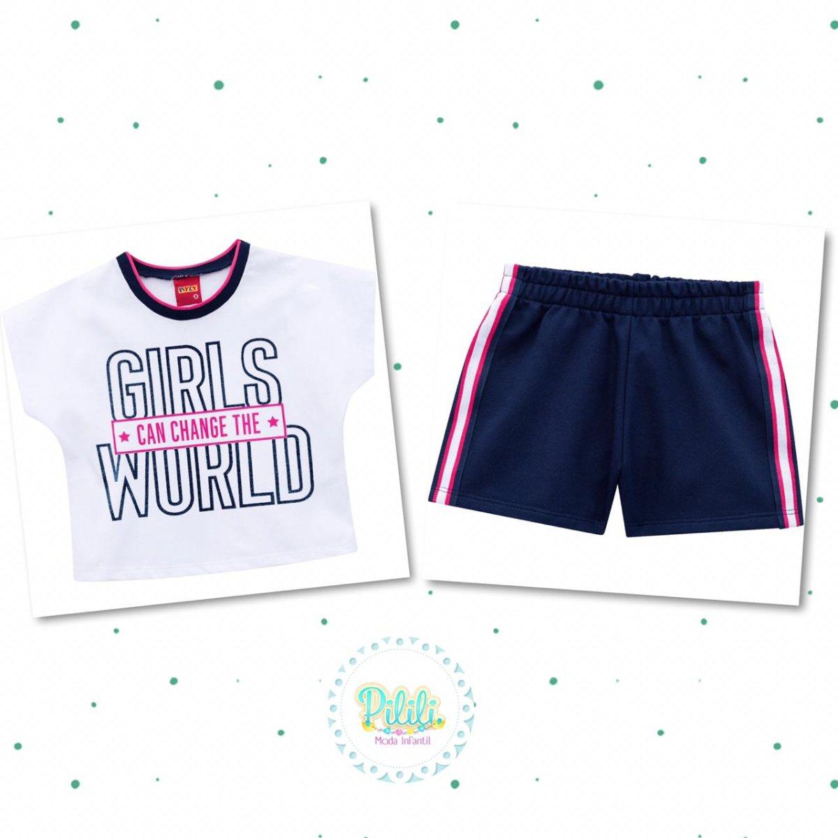 Conjunto Menina Kyly Cropped Algodão Shorts Moletom Leve