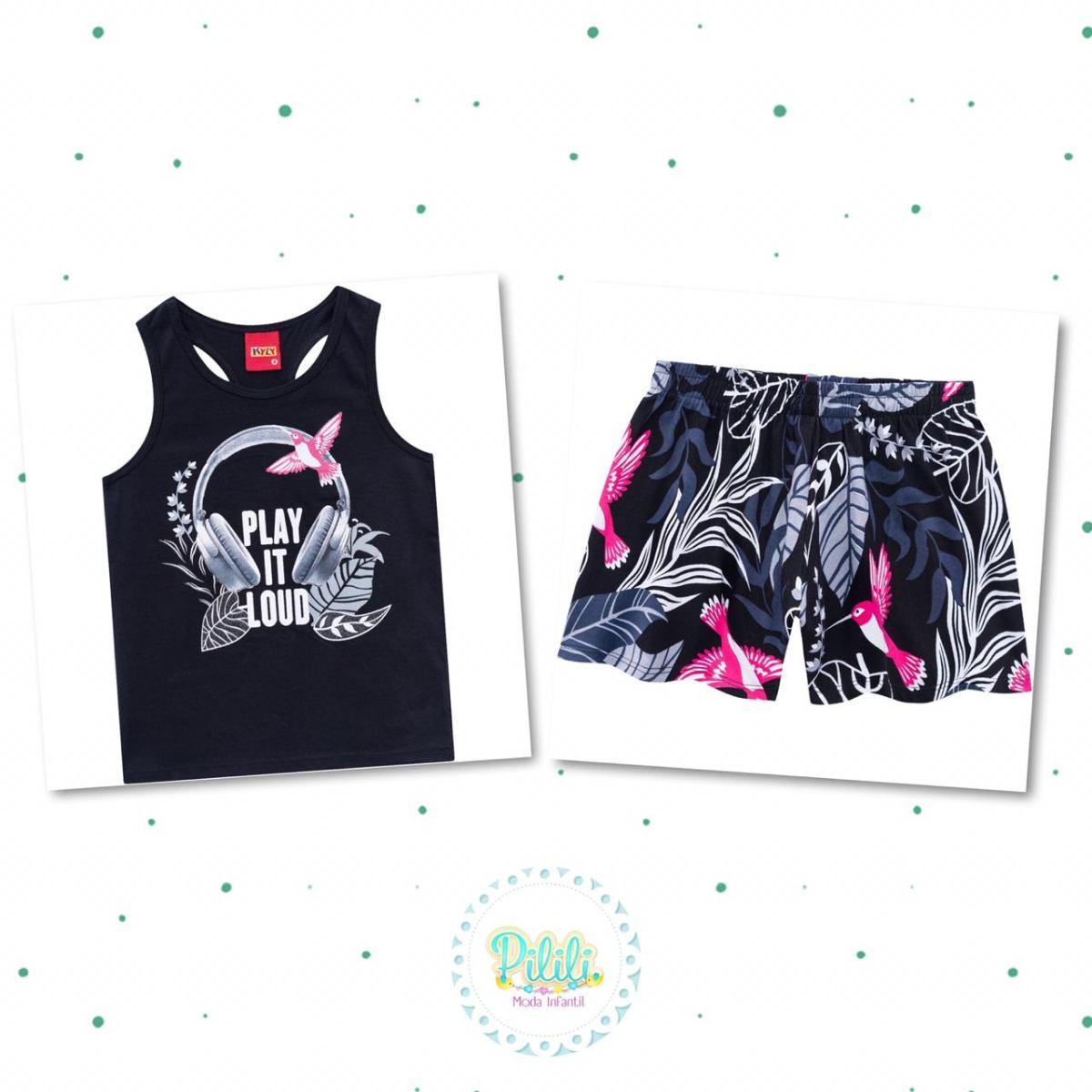Conjunto Menina Kyly Regata e Shorts em Algodão