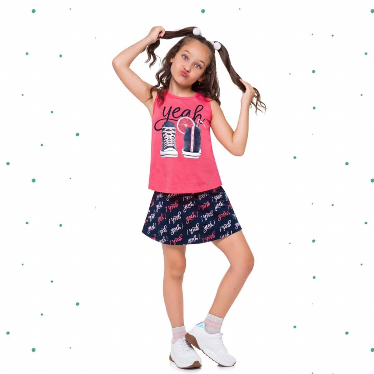 Conjunto Menina Kyly Regata em Algodão e Saia em Moletinho com Shorts Interno