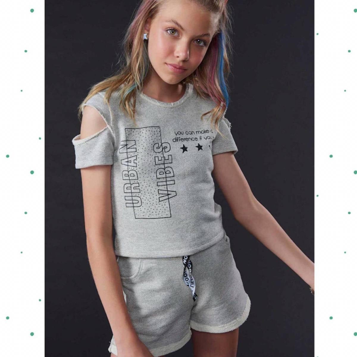 Conjunto Menina Lilimoon Blusa e Shorts em Moletom