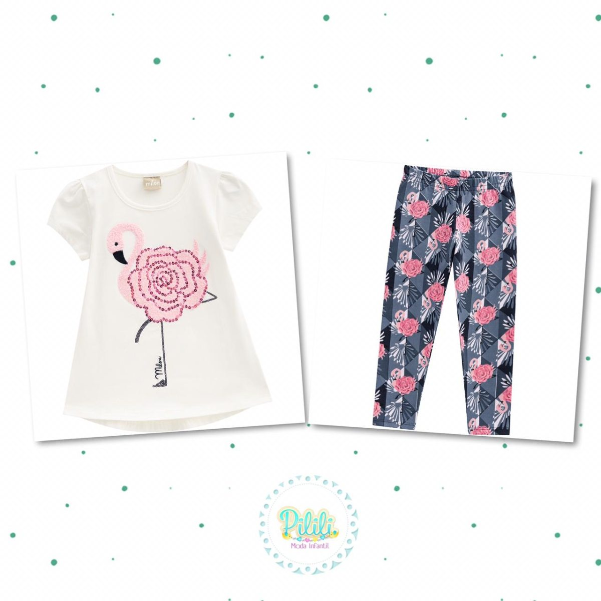 Conjunto Menina Milon Blusa Cotton 4 e Legging em Cotton