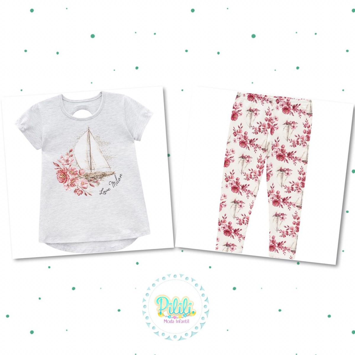 Conjunto Menina Milon Blusa Cotton e Legging em Cotton