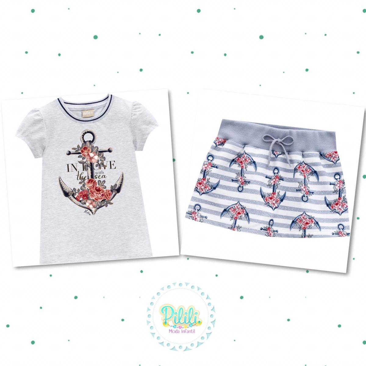 Conjunto Menina Milon Blusa Cotton Short-Saia Moletinho