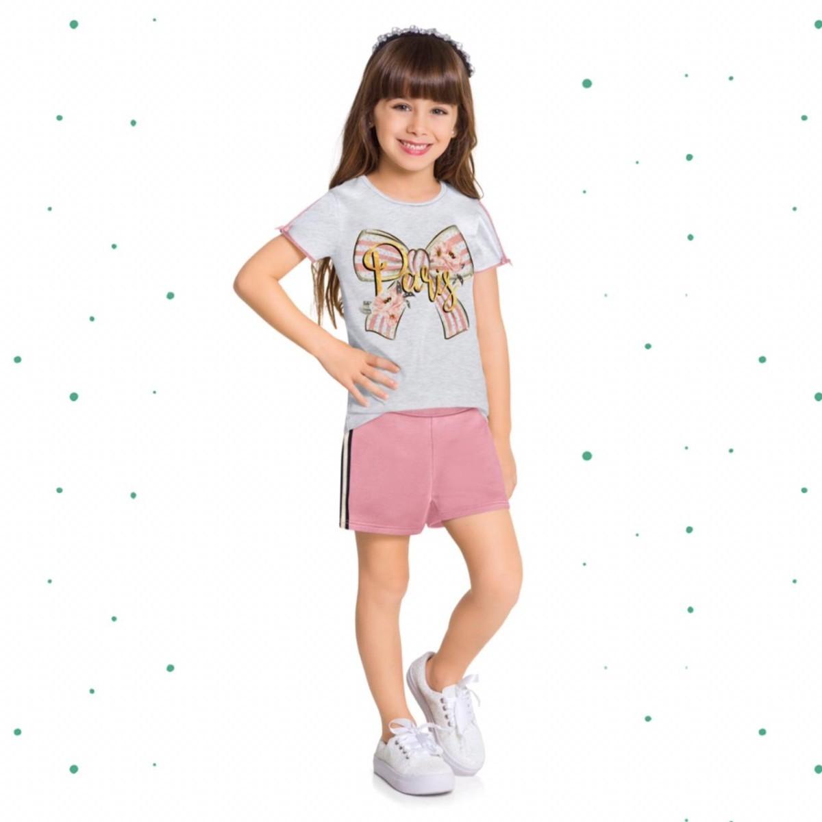 Conjunto Menina Milon Blusa Cotton Shorts Moletom s/ Felpa