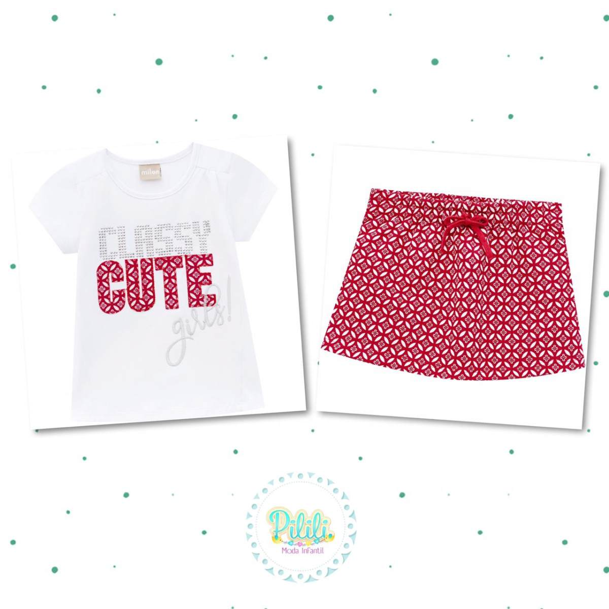 Conjunto Menina Milon Blusa Cotton Shorts-Saia Moletom Leve