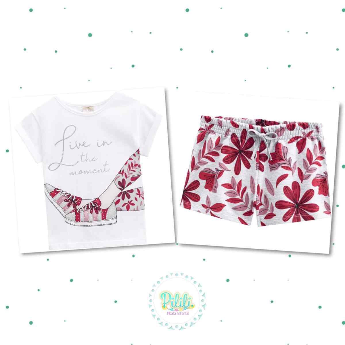 Conjunto Menina Milon Blusa em Cotton Short em Moletinho Leve