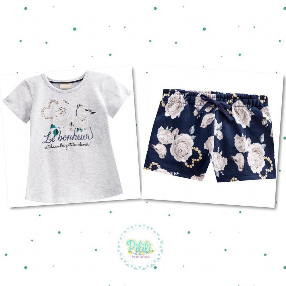 Conjunto Menina Milon Blusinha em Cotton e Short em Moletom