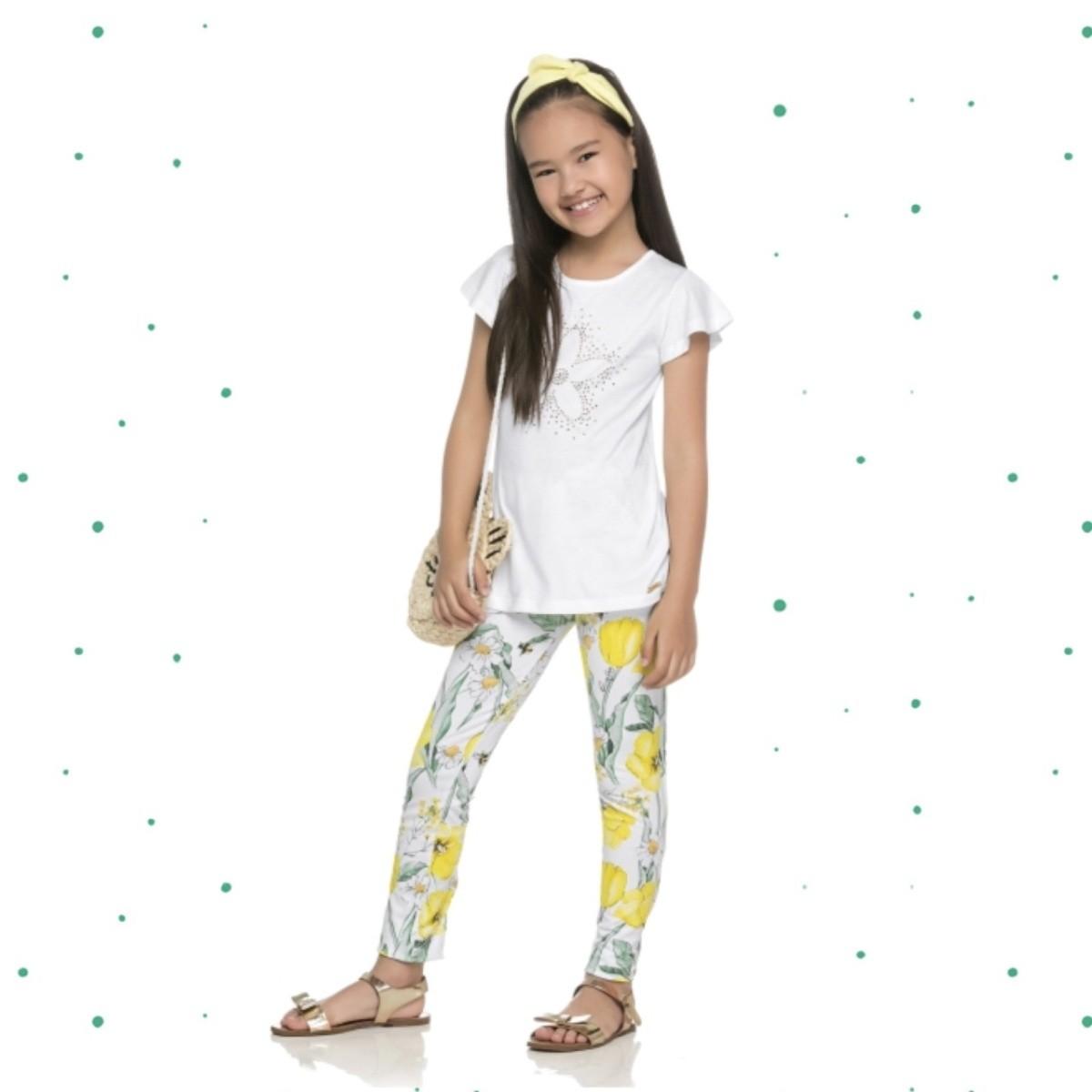 Conjunto Menina Quimby Blusa Algodão Legging Cotton