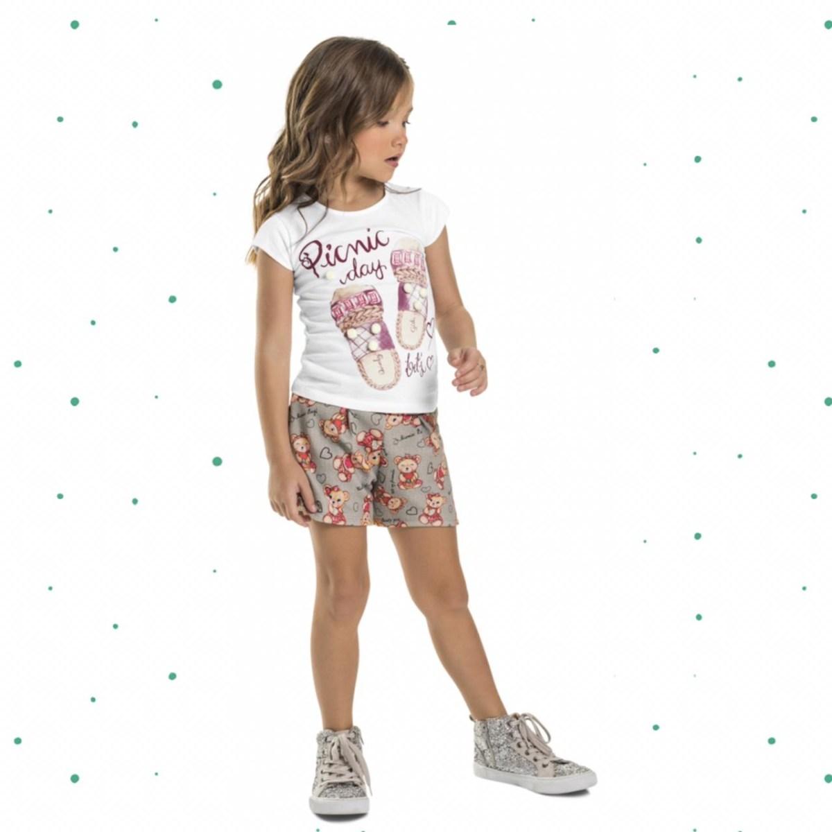 Conjunto Menina Quimby Blusa Cotton Shorts Tecido Sublimado
