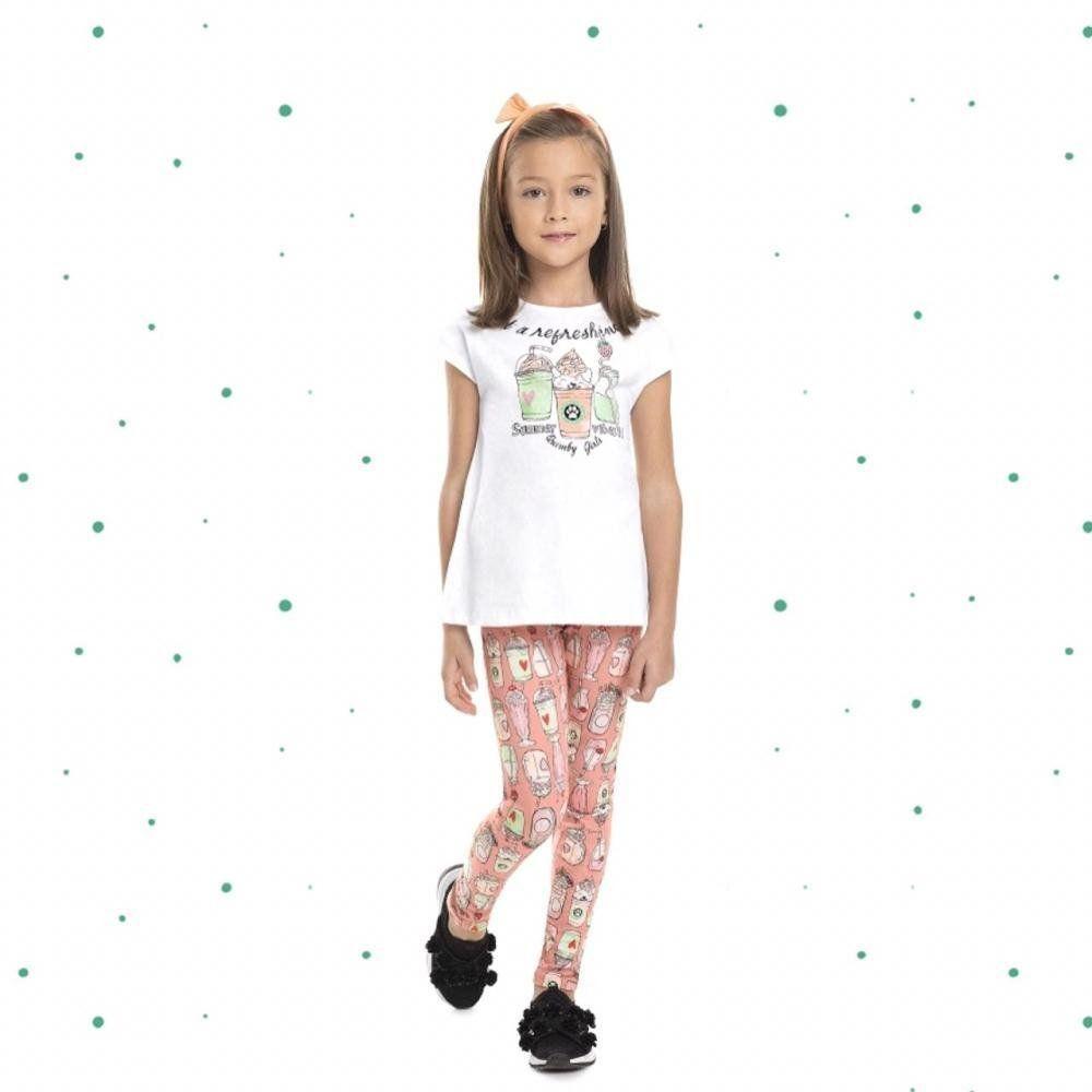 Conjunto Menina Quimby Blusa em Algodão e Legging em Cotton