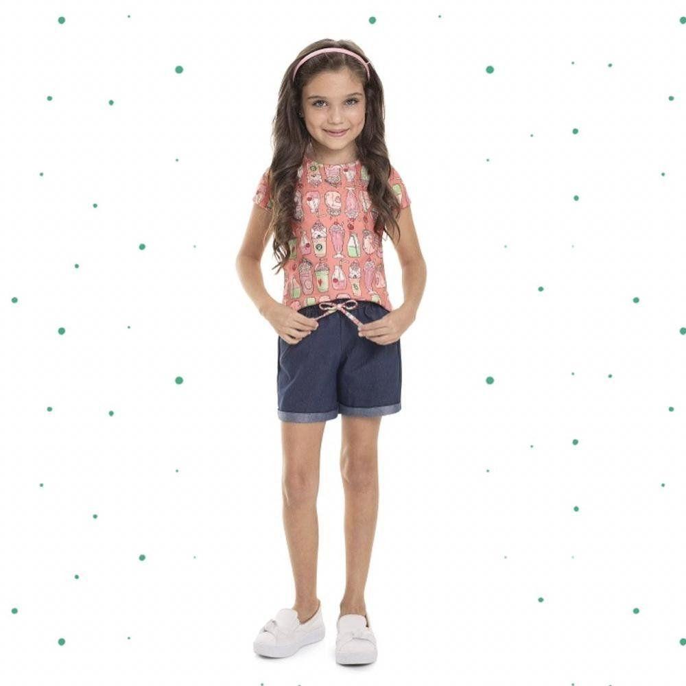 Conjunto Menina Quimby Blusa em Cotton e Shorts em Malha Jeans.