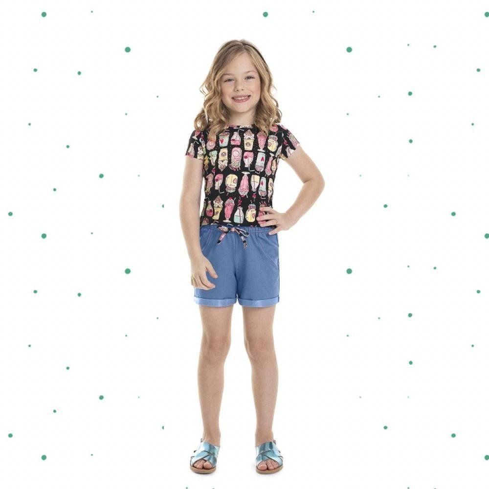Conjunto Menina Quimby Blusa em Cotton e Shorts em Malha Jeans