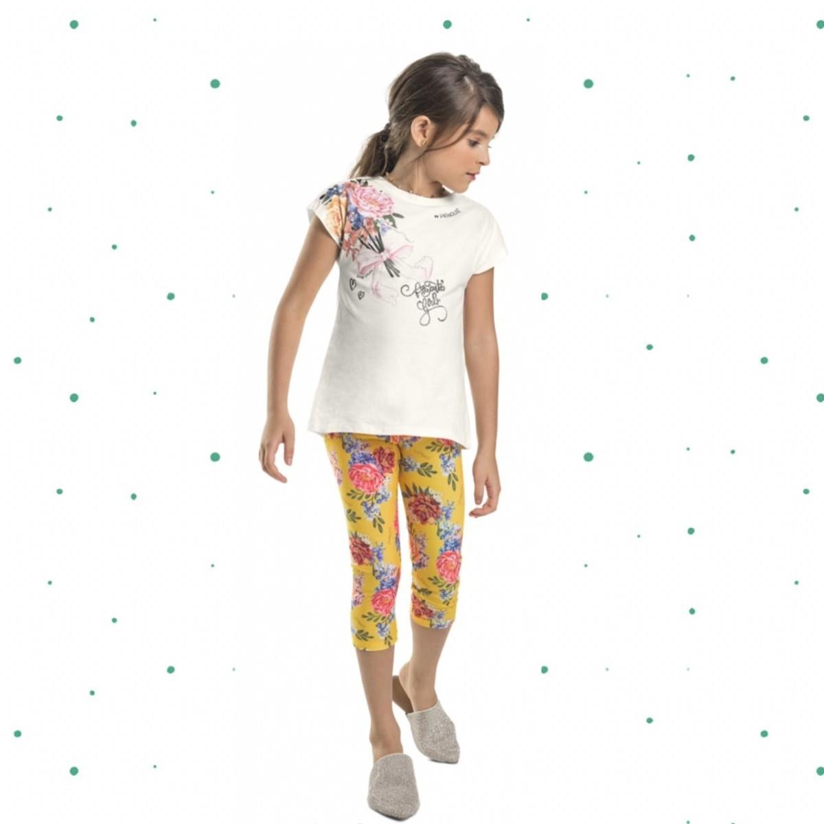Conjunto Menina Quimby Blusinha Algodão Legging Cotton