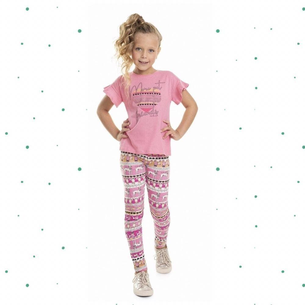 Conjunto Menina Quimby Blusinha em 100% Algodão e Legging em Cotton cor Rosa