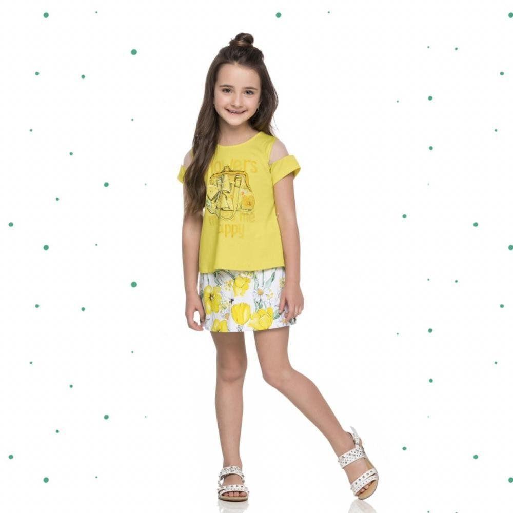 Conjunto Menina Quimby Blusinha em Algodão e Short Saia em Cotton cor Amarelo