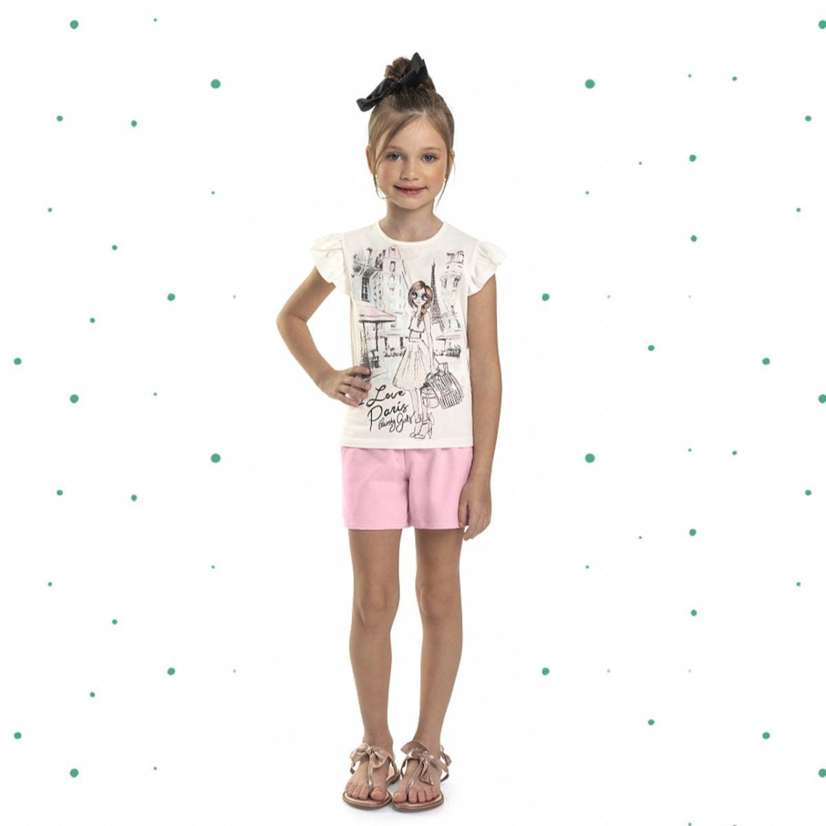 Conjunto Menina Quimby Blusinha em Algodão e Shorts em Molecotton