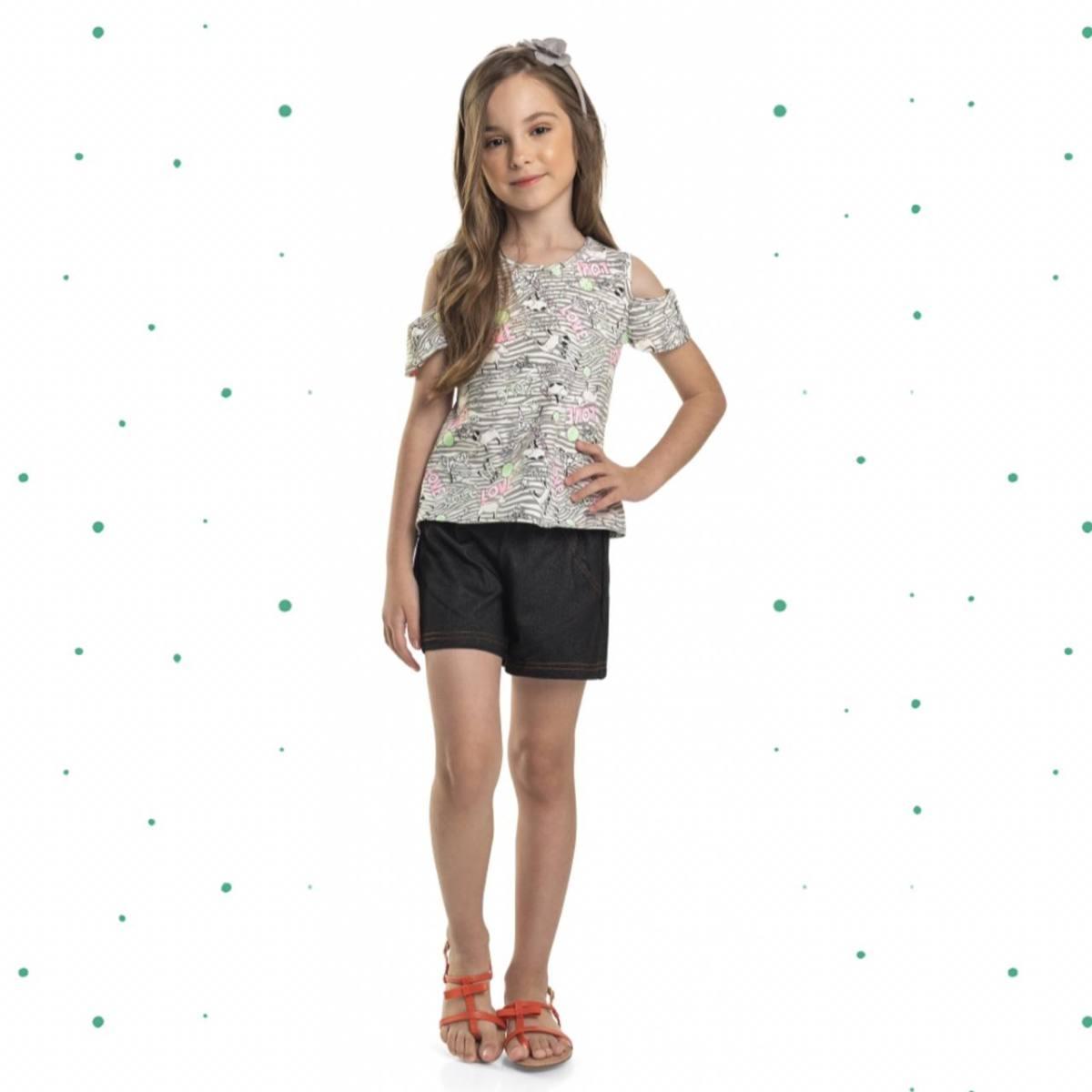 Conjunto Menina Quimby Blusinha em Cotton e Short em Malha Jeans