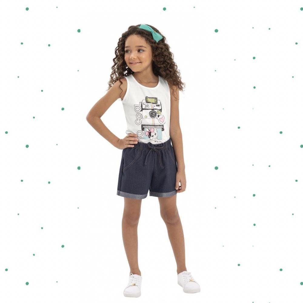 Conjunto Menina Quimby Regata em Cotton e Short em Malha Jeans