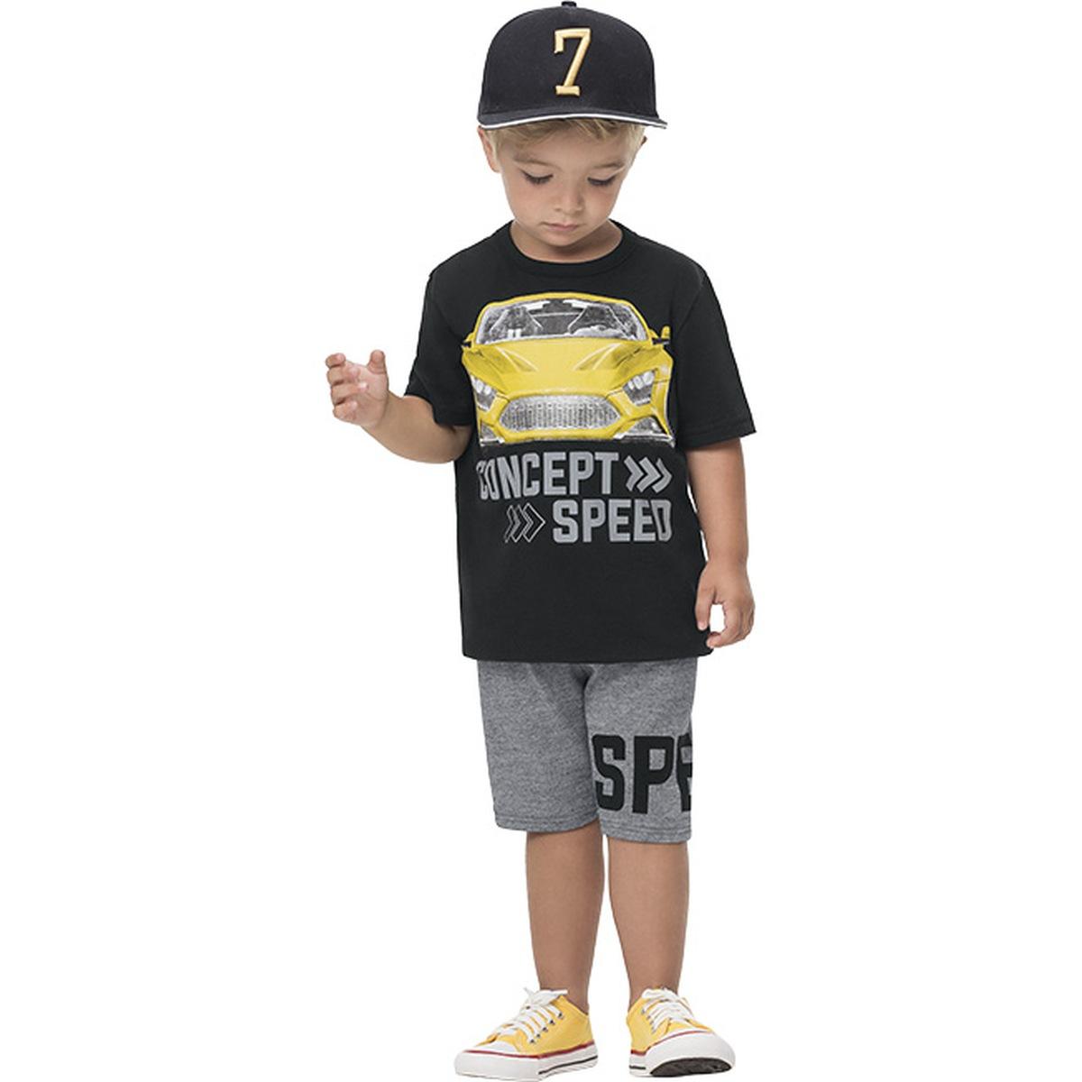 Conjunto Menino Kyly Camiseta Algodão Bermuda Malhão