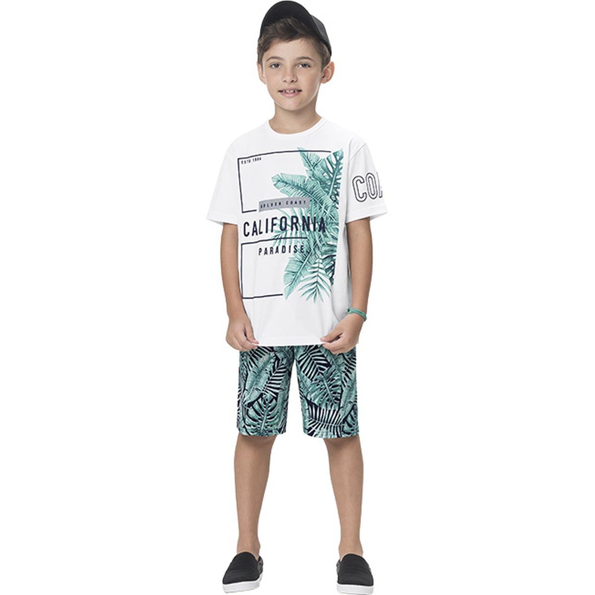 Conjunto Menino Kyly Camiseta Algodão Bermuda Moletom