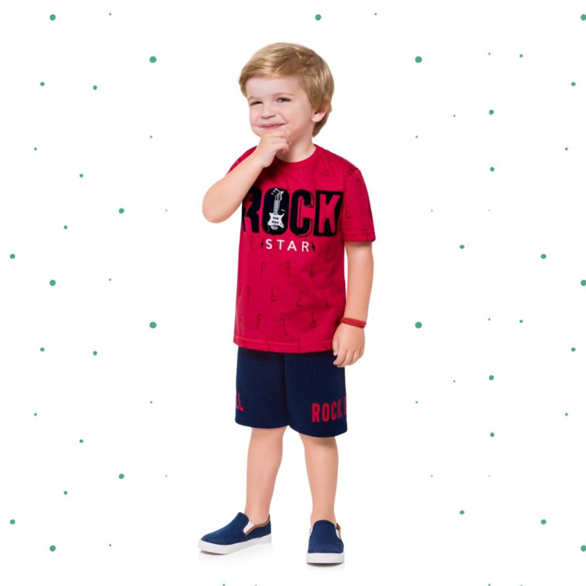 Conjunto Menino Kyly Camiseta Algodão Bermuda Moletom sem Felpa