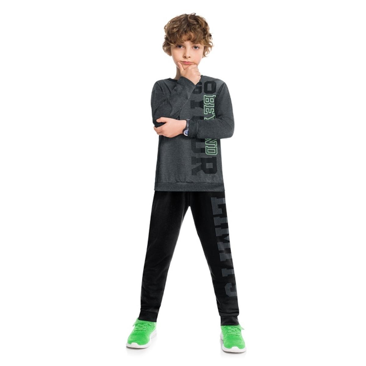 Conjunto Menino Kyly Camiseta Algodão e Calça Moletom Leve
