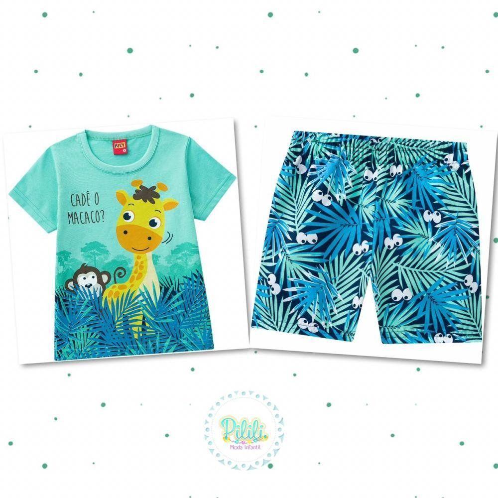 Conjunto Menino Kyly Camiseta em 100% Algodão e Bermuda em Microfibra