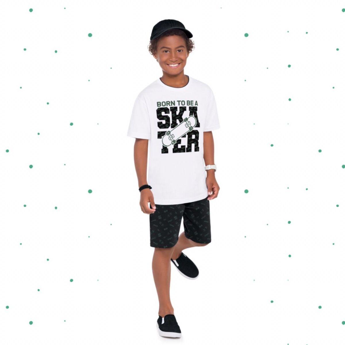Conjunto Menino Kyly Camiseta em Algodão Bermuda em Moletom sem Felpa