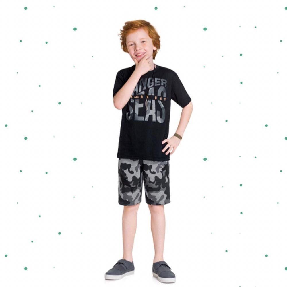Conjunto Menino Kyly Camiseta em Algodão e Bermuda em Moletom