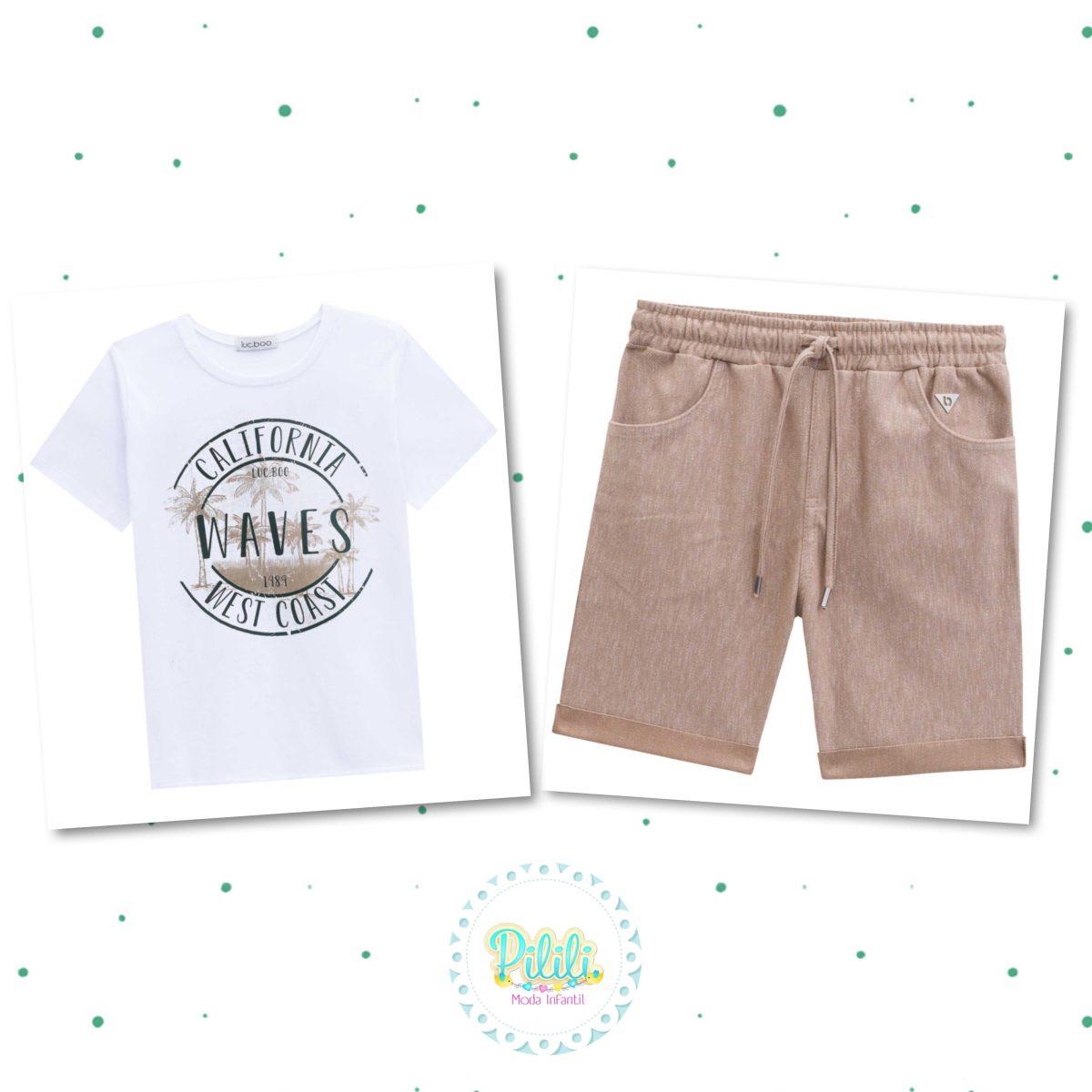 Conjunto Menino Lucboo Camiseta Algodão Bermuda Cotton Jeans