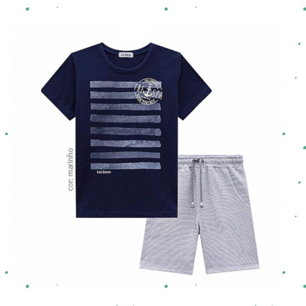 Conjunto Menino Lucboo Camiseta Algodão Bermuda Moletom