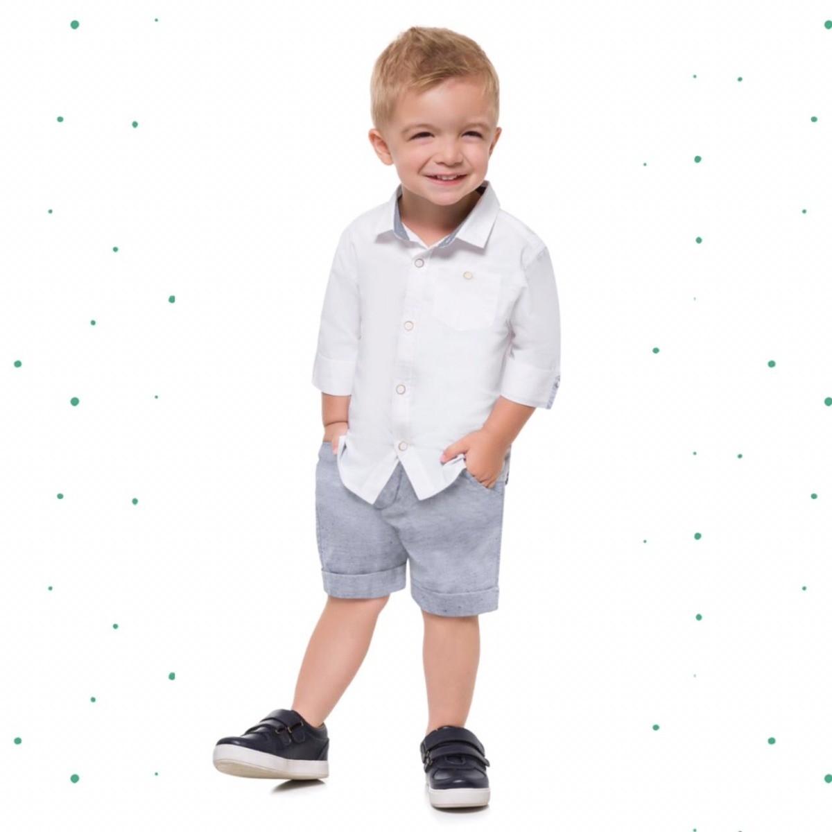 Conjunto Menino Milon Camisa Tricoline Bermuda Fio Tinto