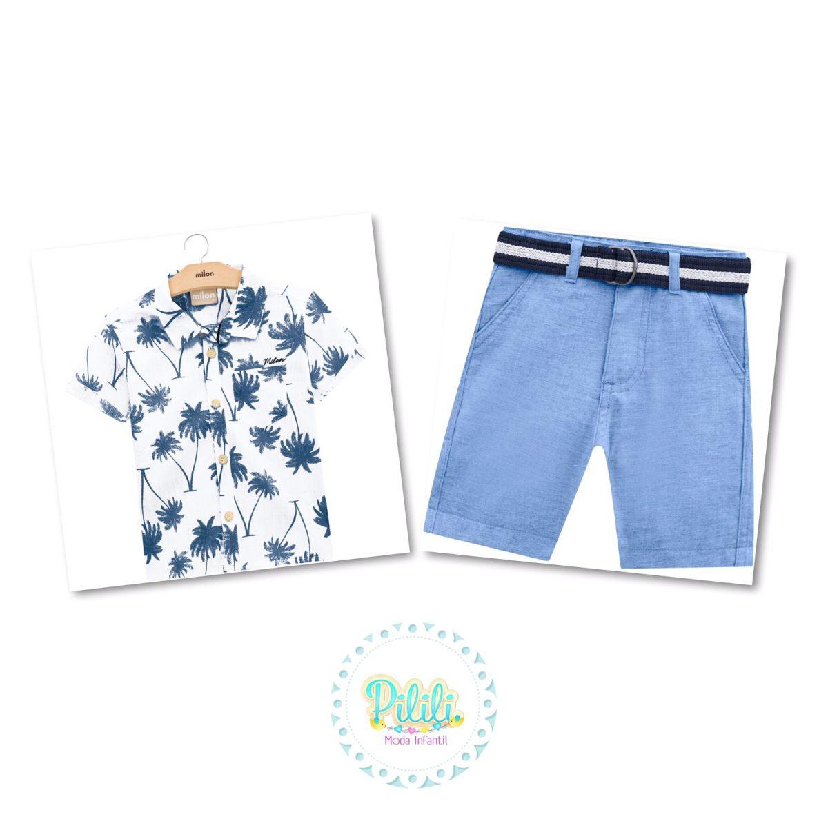 Conjunto Menino Milon Camisa Tricoline e Bermuda Sarja