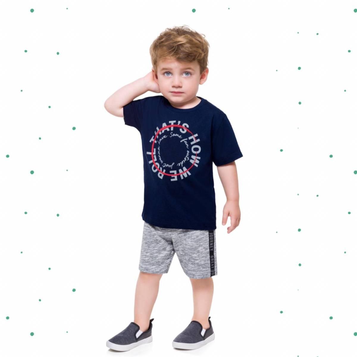 Conjunto Menino Milon Camiseta Algodão Bermuda Moletom 3 Cabos