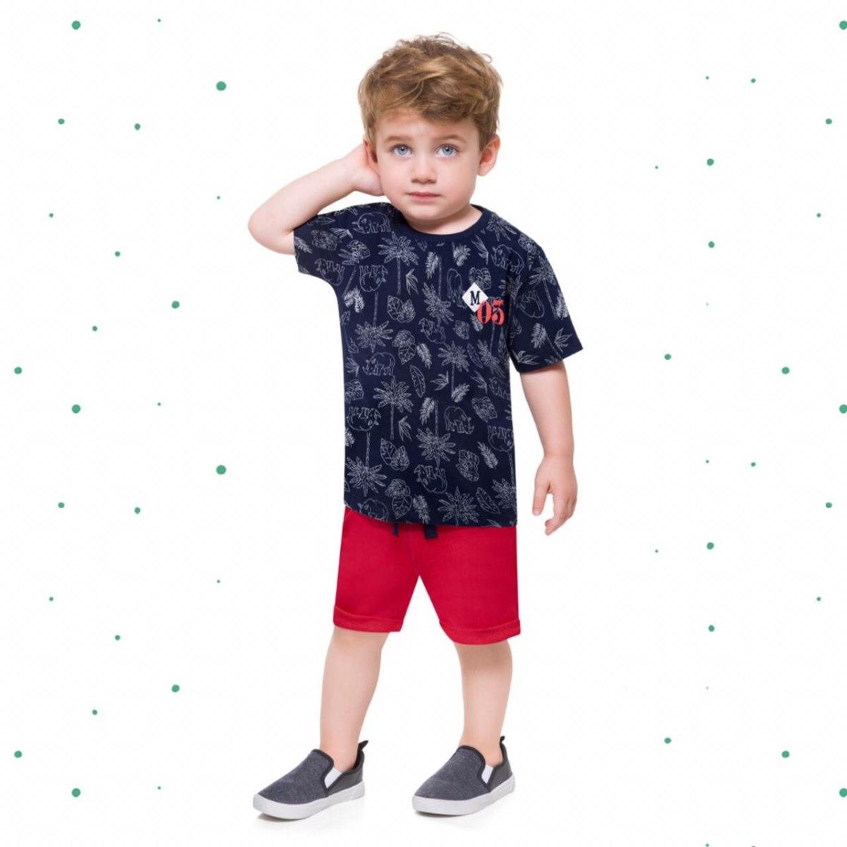 Conjunto Menino Milon Camiseta Algodão Bermuda Moletom