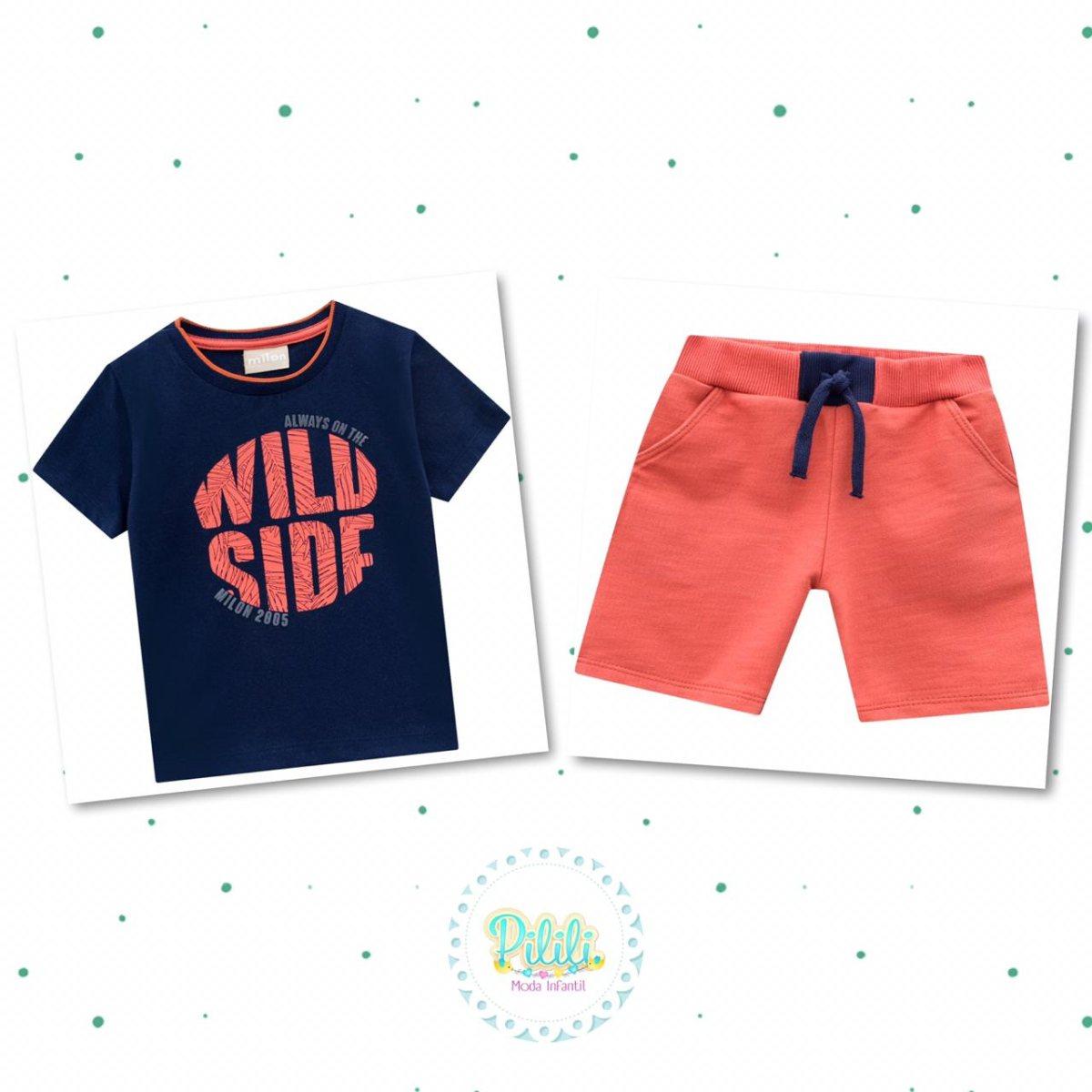 Conjunto Menino Milon Camiseta Algodão Bermuda Moletom Leve-12736-6826