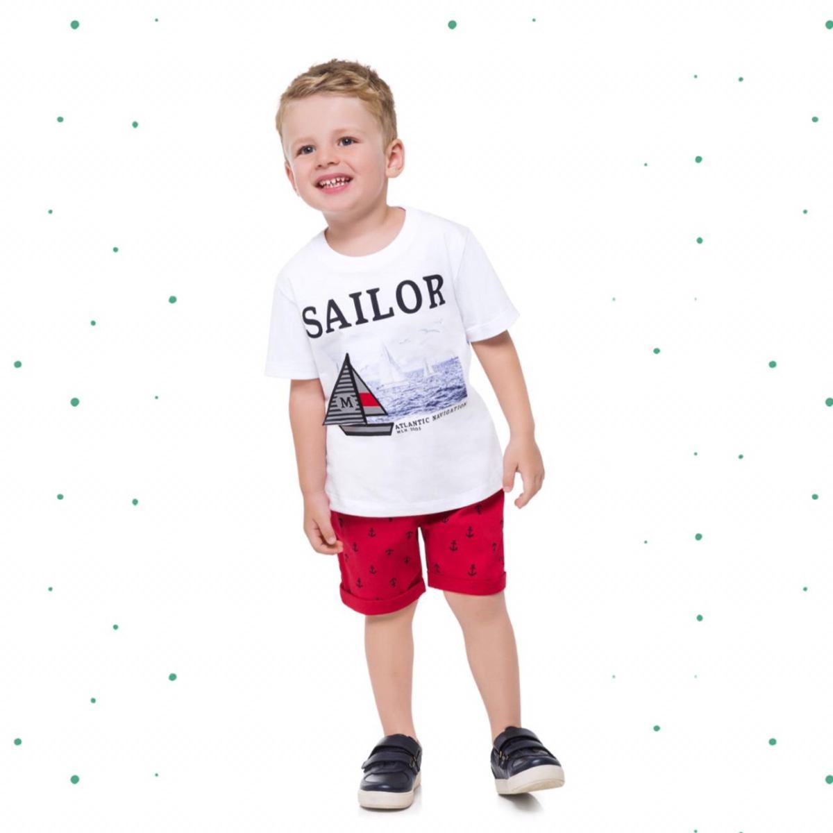 Conjunto Menino Milon Camiseta Algodão Bermuda Sarja com Elastano