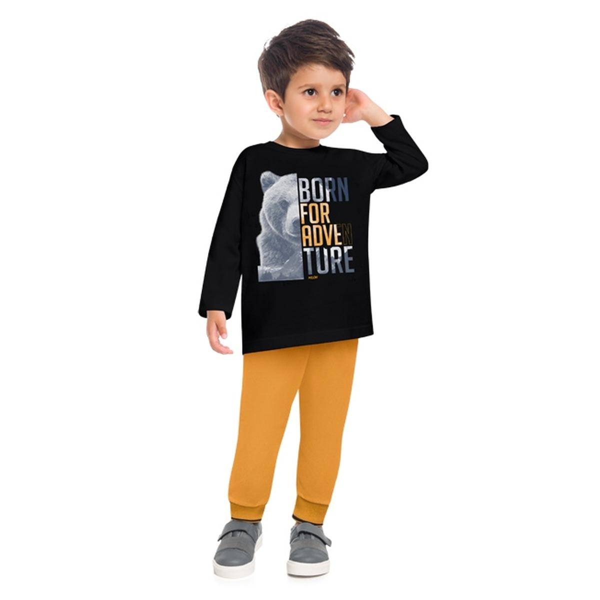 Conjunto Menino Milon Camiseta Algodão Calça Moletom Leve