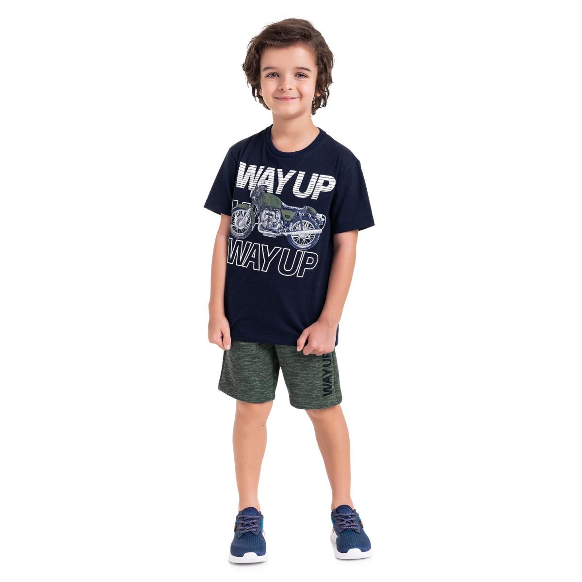 Conjunto Menino Milon Camiseta e Bermuda 3 cabos