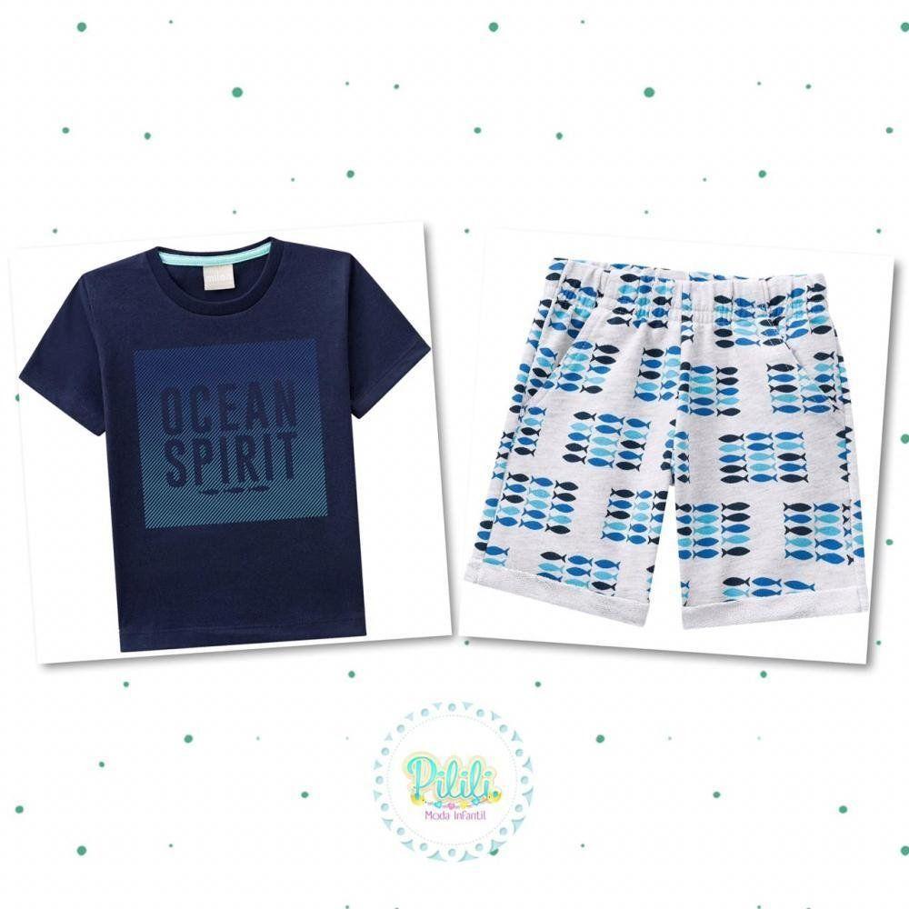 Conjunto Menino Milon Camiseta em 100% Algodão Bermuda em Moletom
