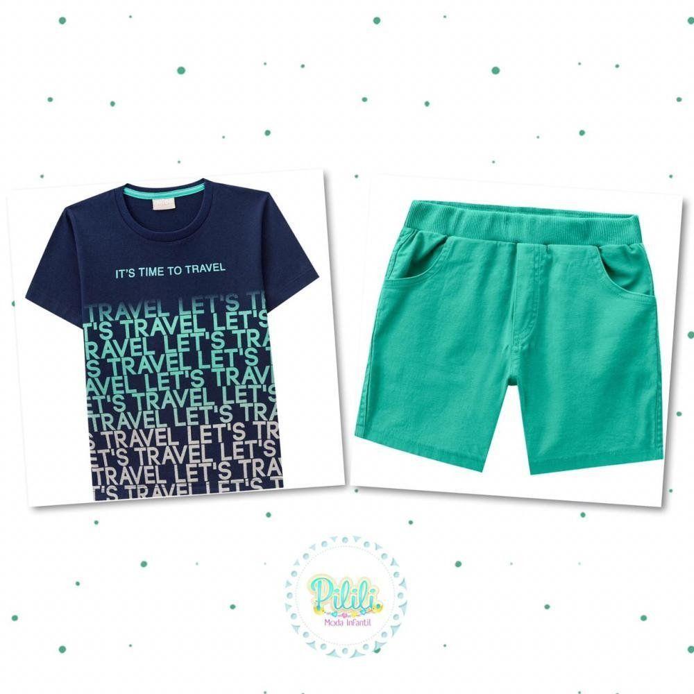 Conjunto Menino Milon Camiseta em 100% Algodão Bermuda em Sarja com Elastano