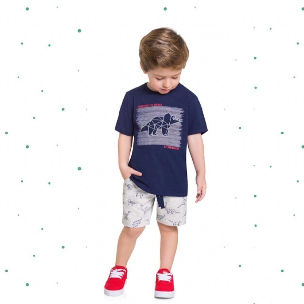 Conjunto Menino Milon Camiseta em Algodão e Bermuda em Moletom