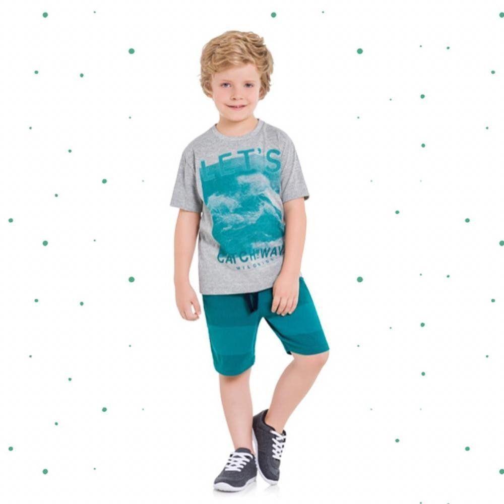 Conjunto Menino Milon Camiseta em Algodão e Bermuda em Sarja