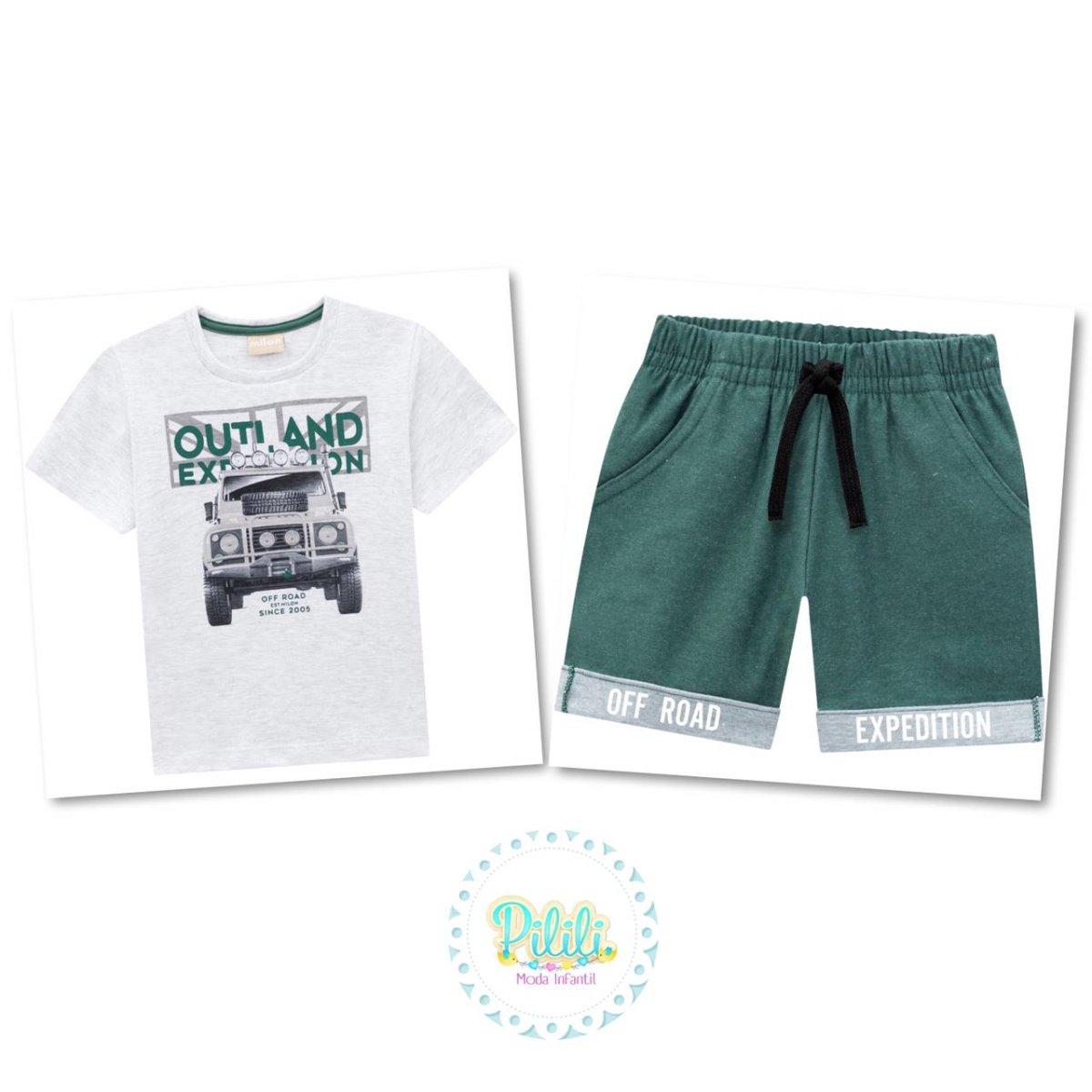 Conjunto Menino Milon Camiseta em Algodão e Bermuda Malhão
