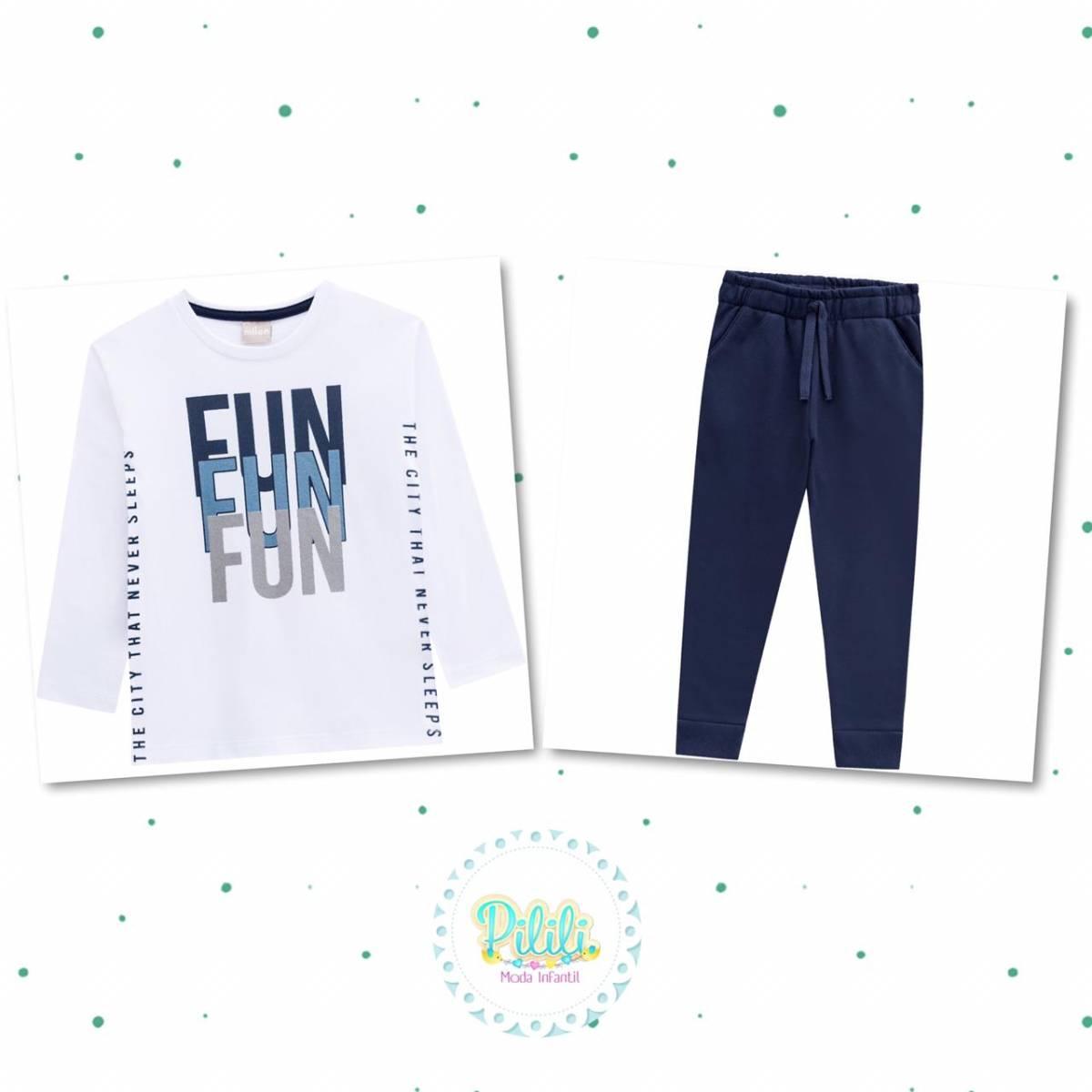 Conjunto Menino Milon Camiseta em Algodão e Calça Moletom sem Felpa