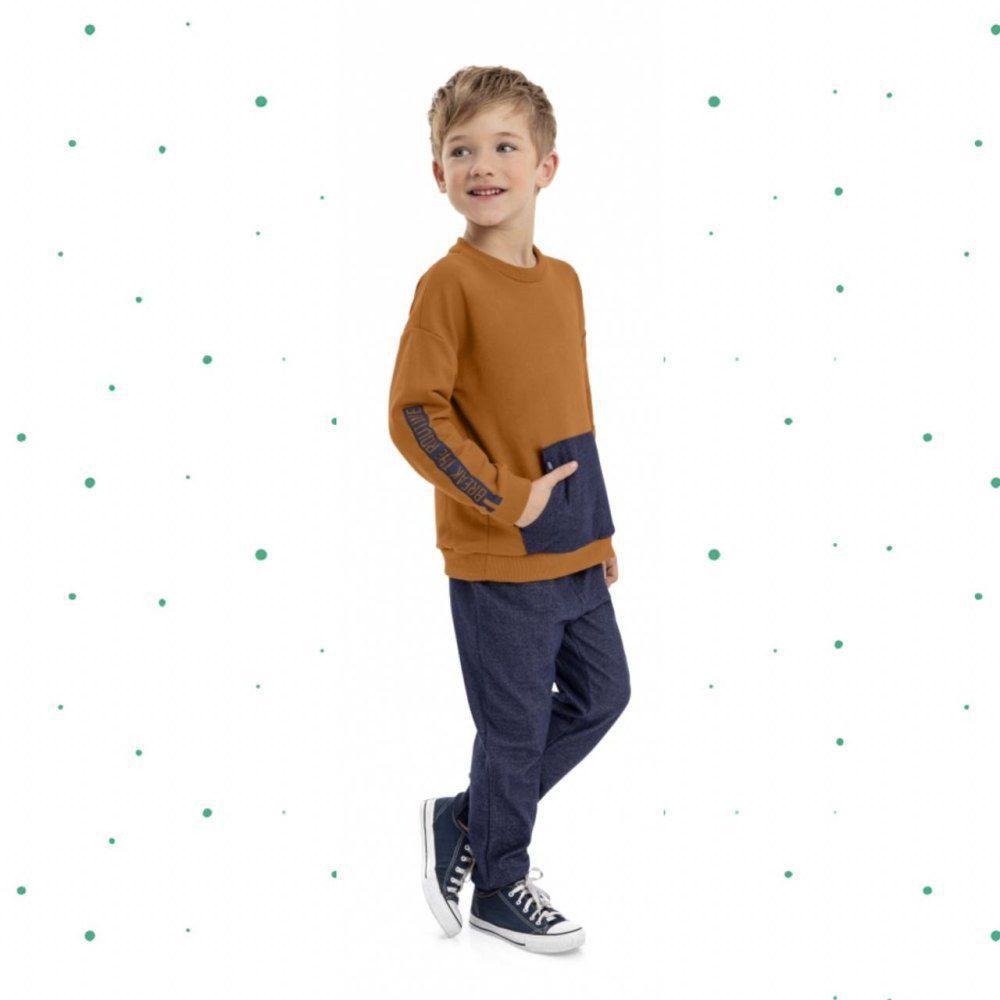 Conjunto Menino Quimby Blusão e Calça em Moletom Sem Felpa
