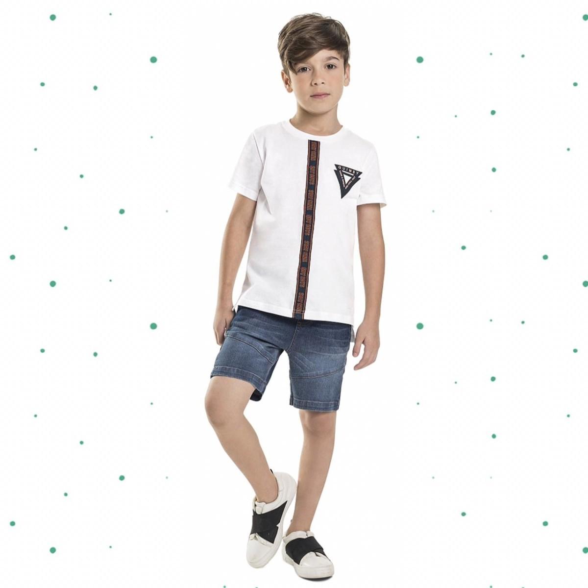 Conjunto Menino Quimby Camiseta Algodão Bermuda Jeans