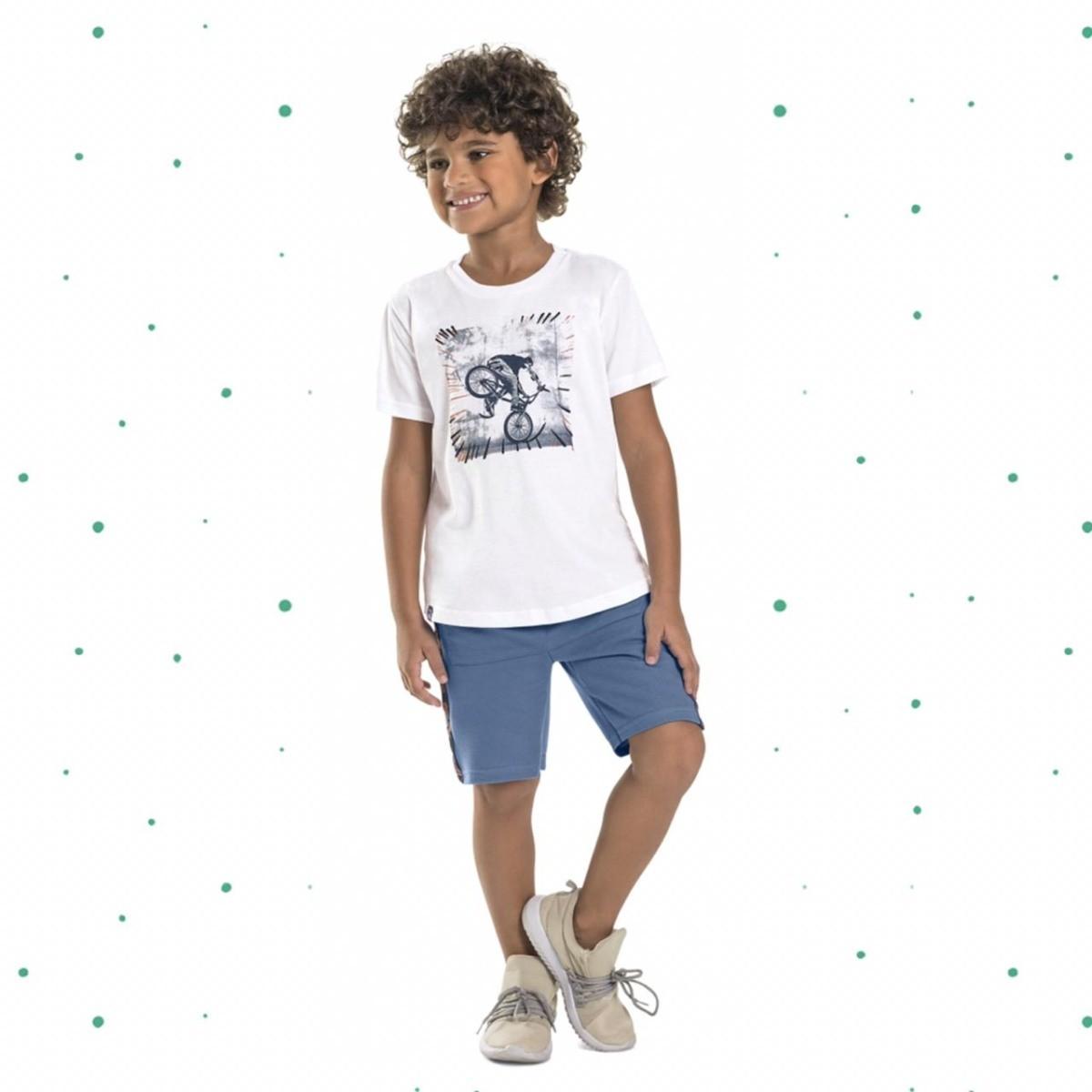 Conjunto Menino Quimby Camiseta Algodão Bermuda Moletinho