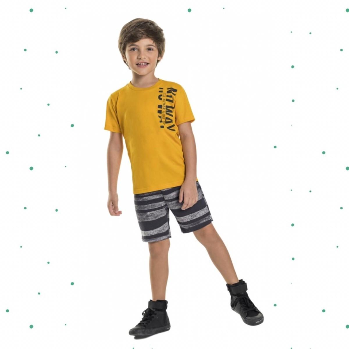 Conjunto Menino Quimby Camiseta Algodão Bermuda Moletom