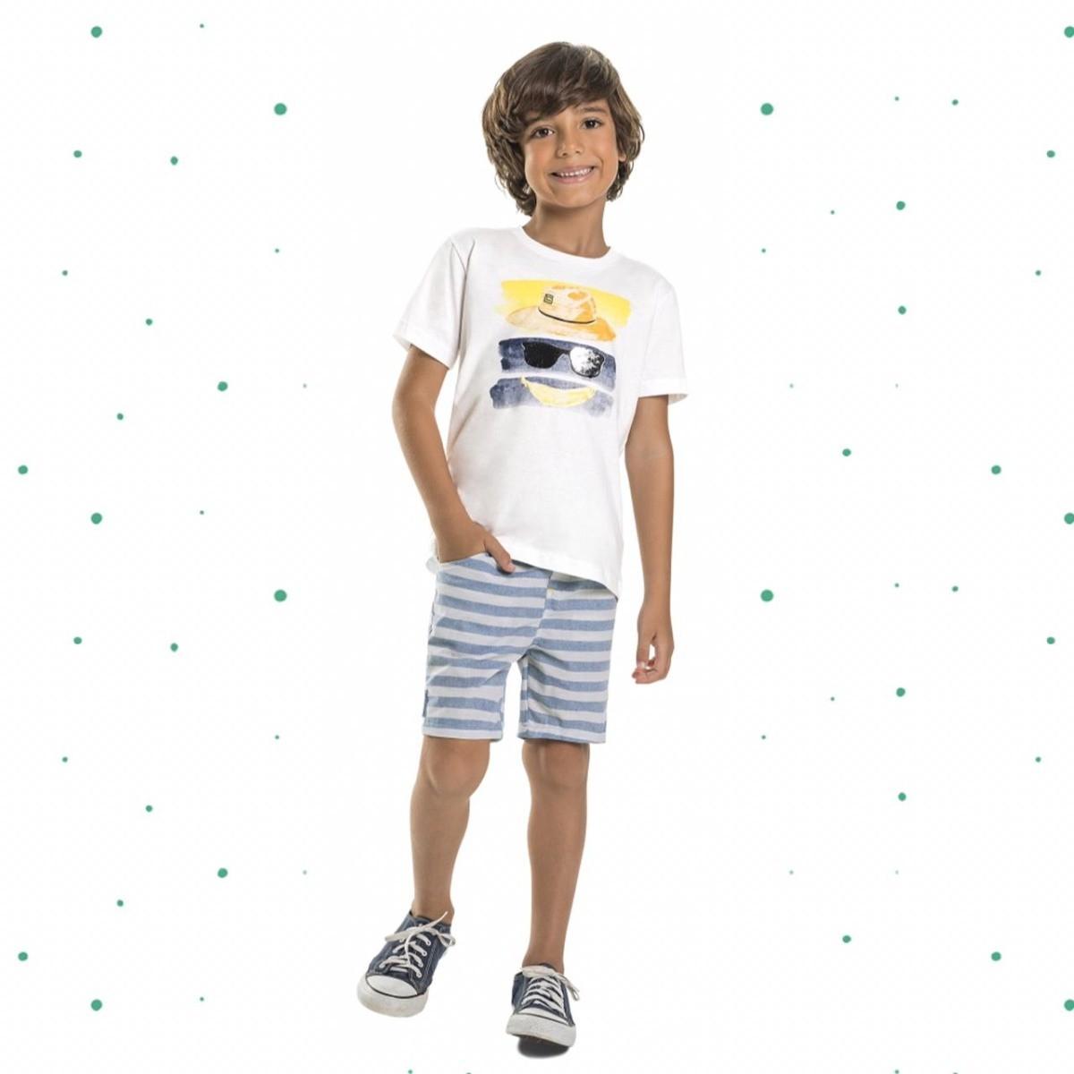 Conjunto Menino Quimby Camiseta Algodão Bermuda Tecido